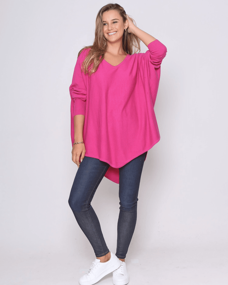 Zali Knit Top - Fuschia