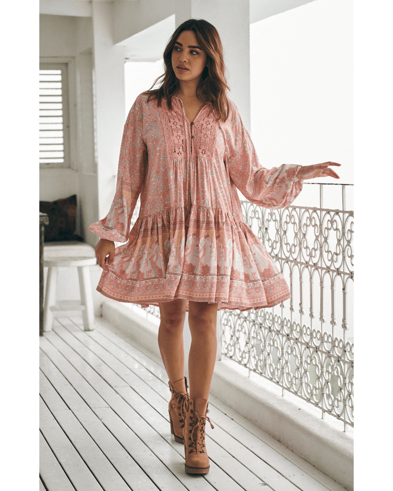 JAASE Sparrow Mini Dress - Swan Lake Peony Pink