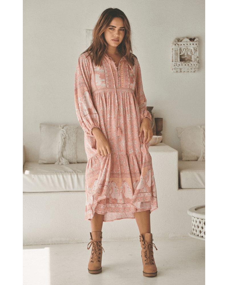 JAASE Ezra Midi Dress - Swan Lake Peony Pink