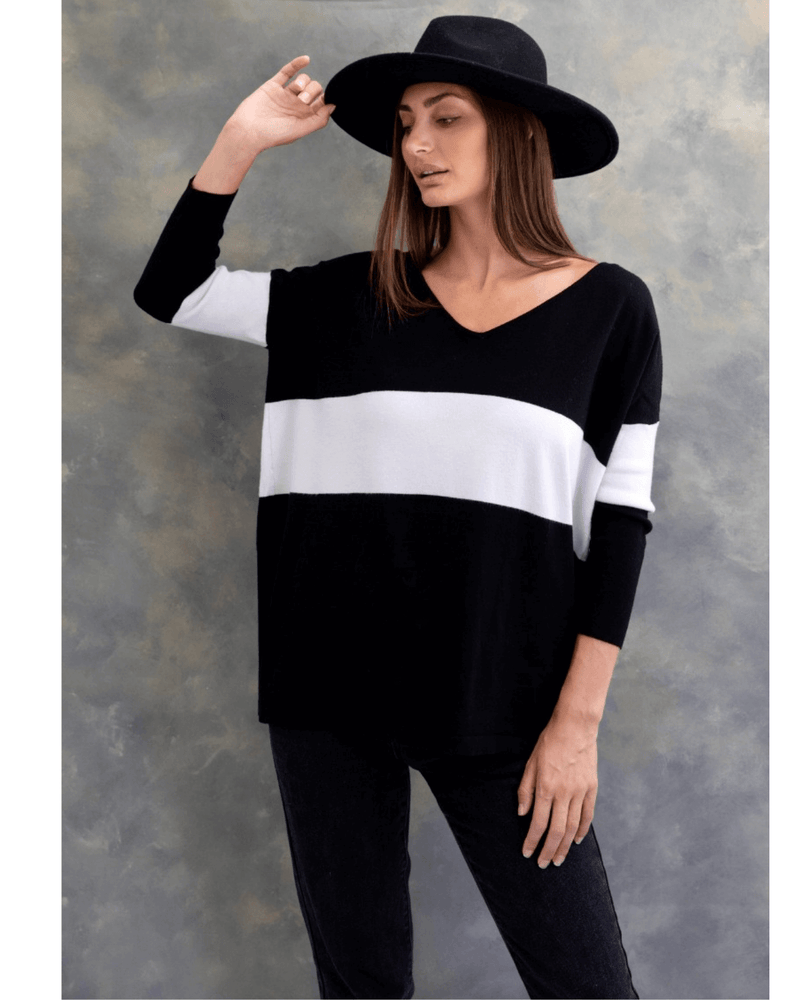 Larissa Knit Top - Black and White
