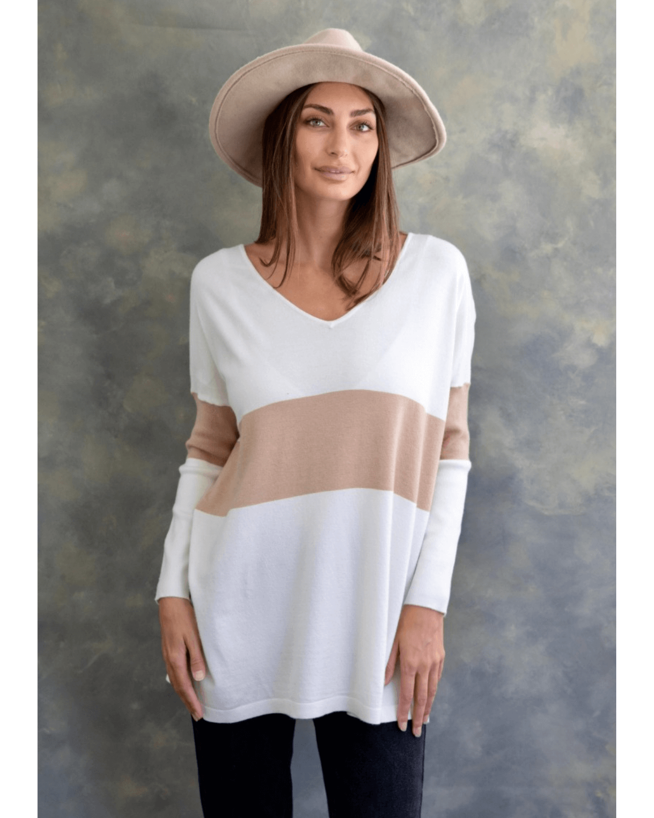 Larissa Knit Top - White and Tan