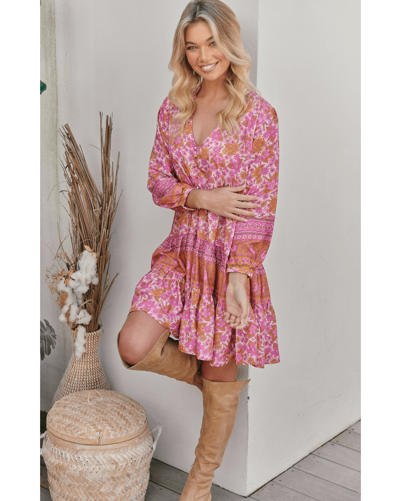 JAASE Payson Dress - Pink Dahlia