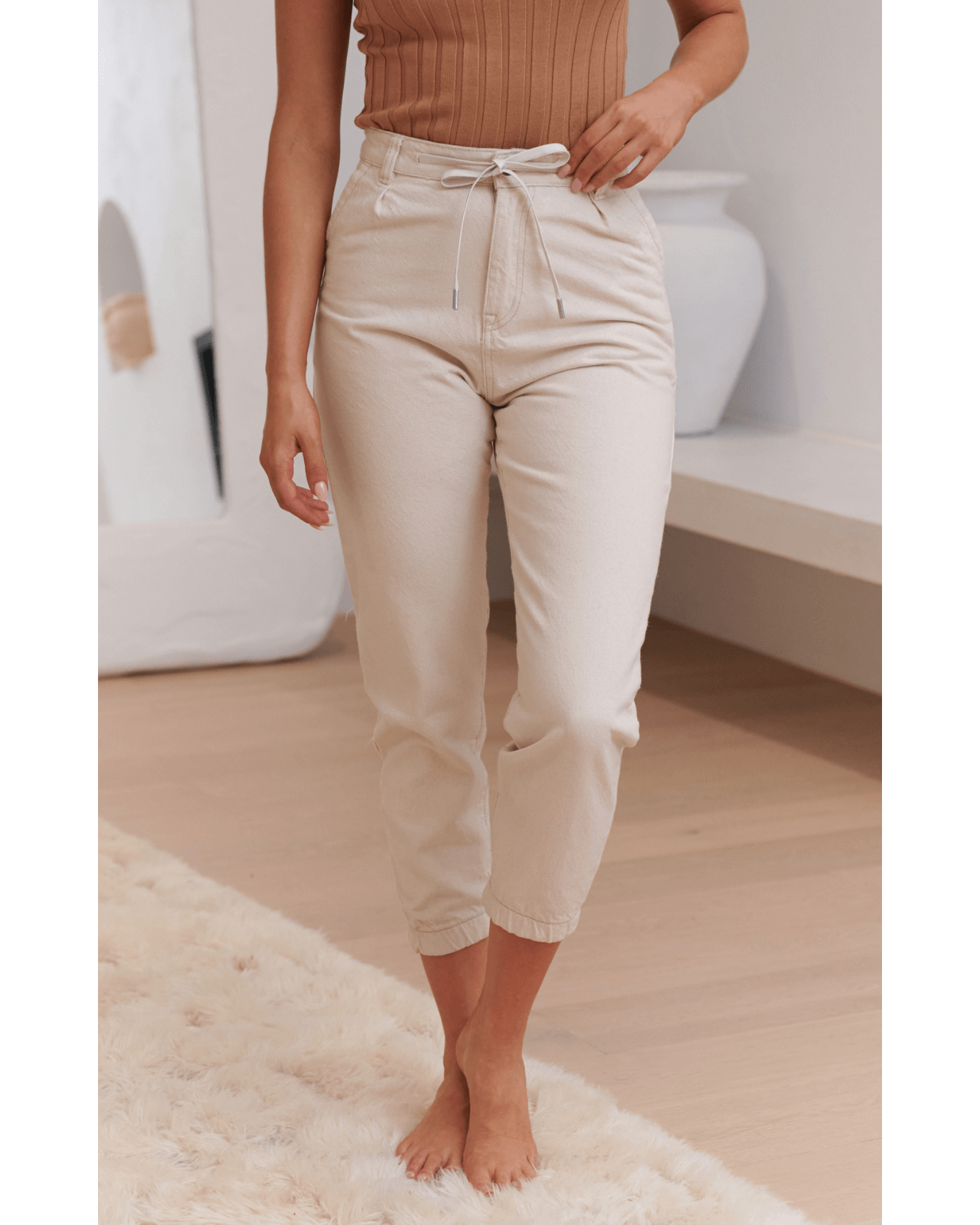JAASE Lennox Denim Joggers - Cream