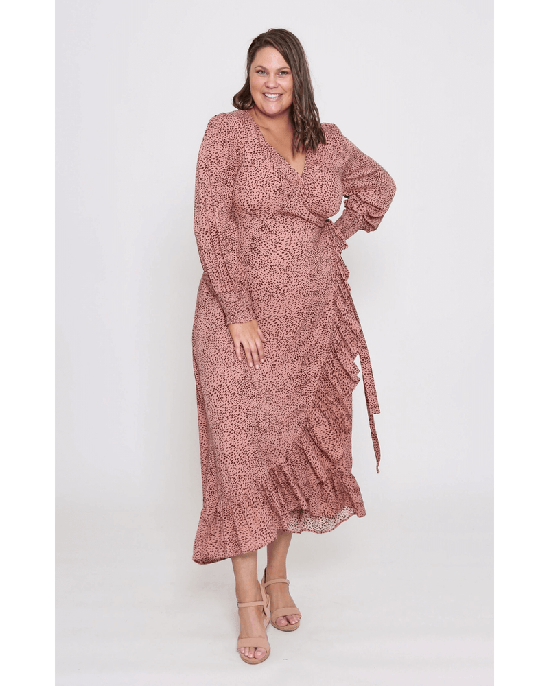 Raynie Wrap Dress Blush Leopard