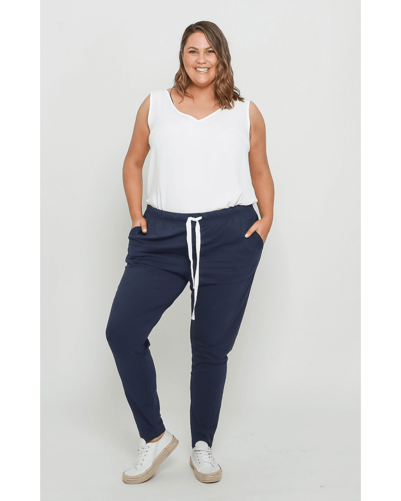 Emily Curve Joggers - Navy