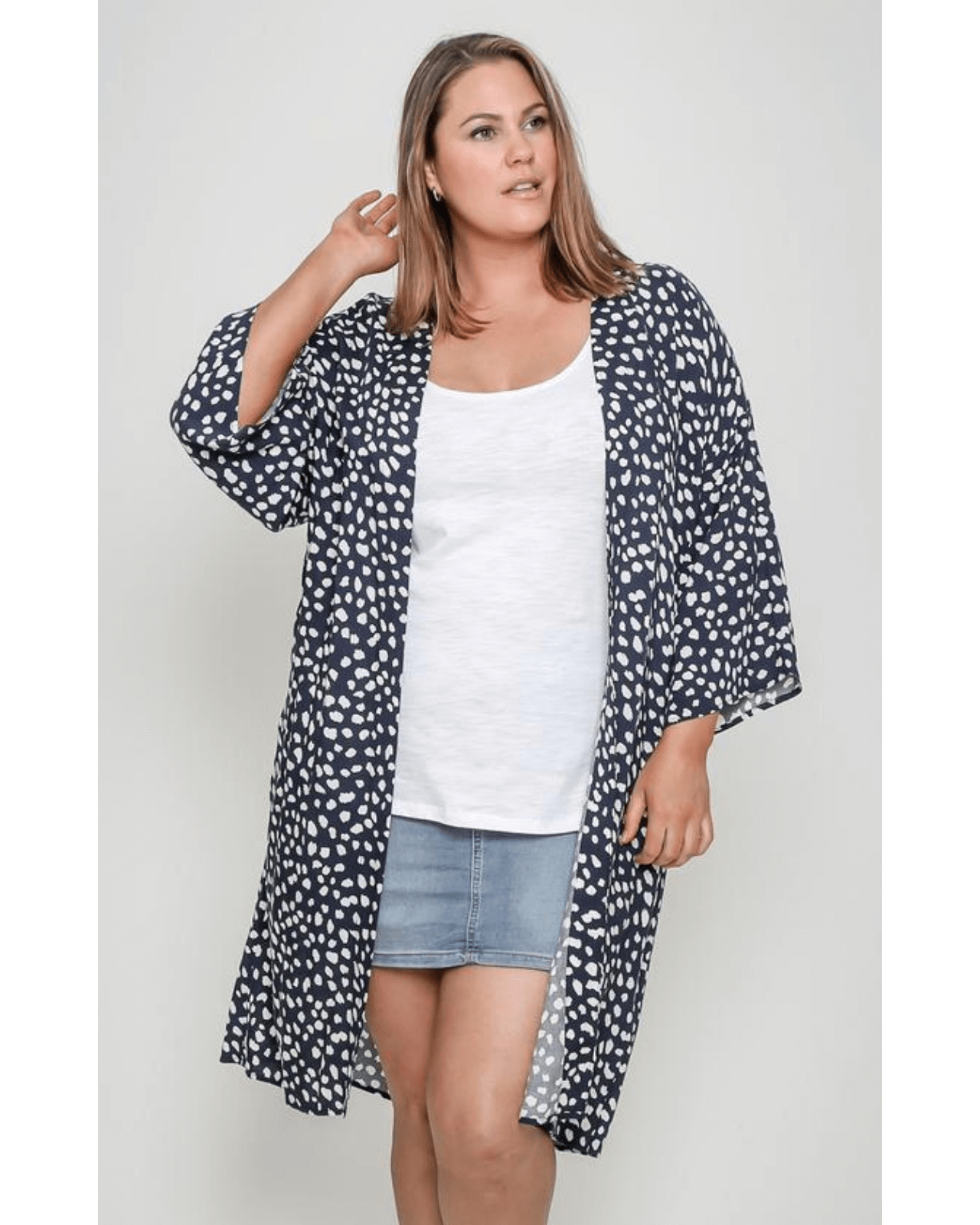 Ally Cape Navy Animal Print