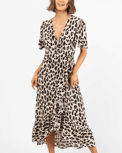 Berlin Wrap Dress - Beige Leopard
