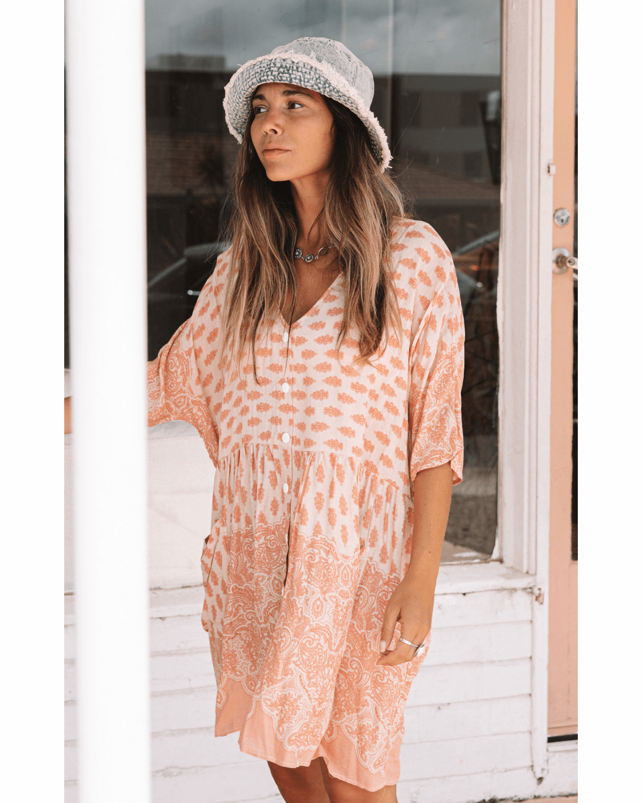 Sundaze Tunic Dress - Peach Sunset