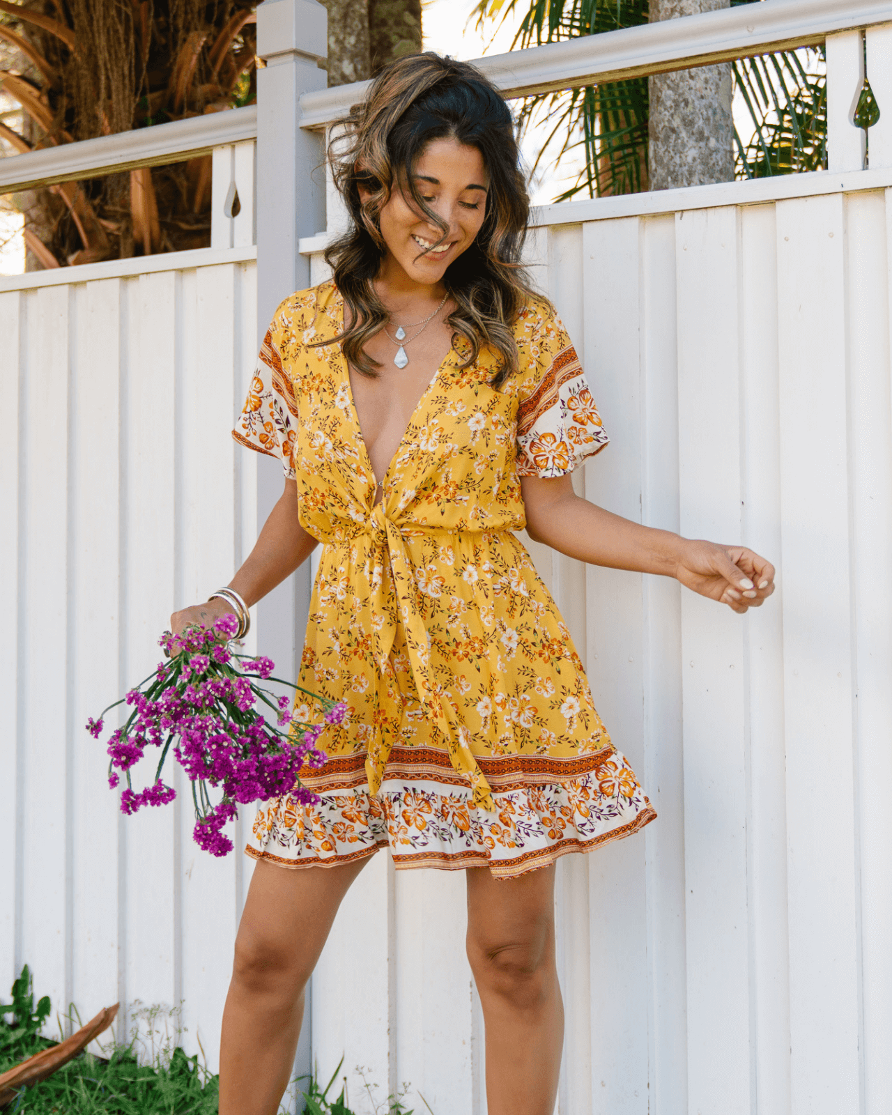Ayana Frill Mini Dress - Amber