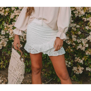 FIONA EYELET SKIRT WHITE
