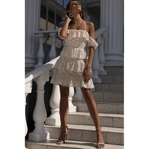 LOVER LACE FRILL MINI DRESS NUDE