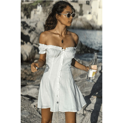 MARIA LINEN BLEND DRESS WHITE