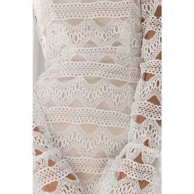 CLARA MINI WHITE LACE WITH NUDE DRESS