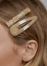 Britta Resin Hair Clip Pack - Gold Glitter