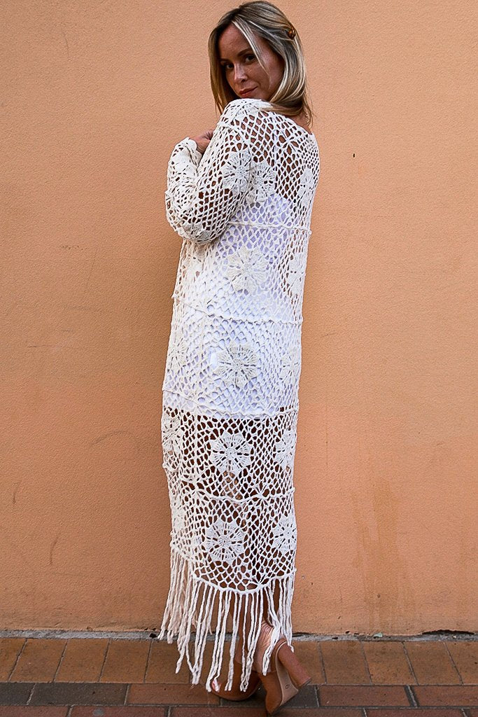 Kim Crochet Throwover Cream KN0412- Instore