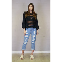 STUNNING FRILL FRONT CROCHET TOP BLACK