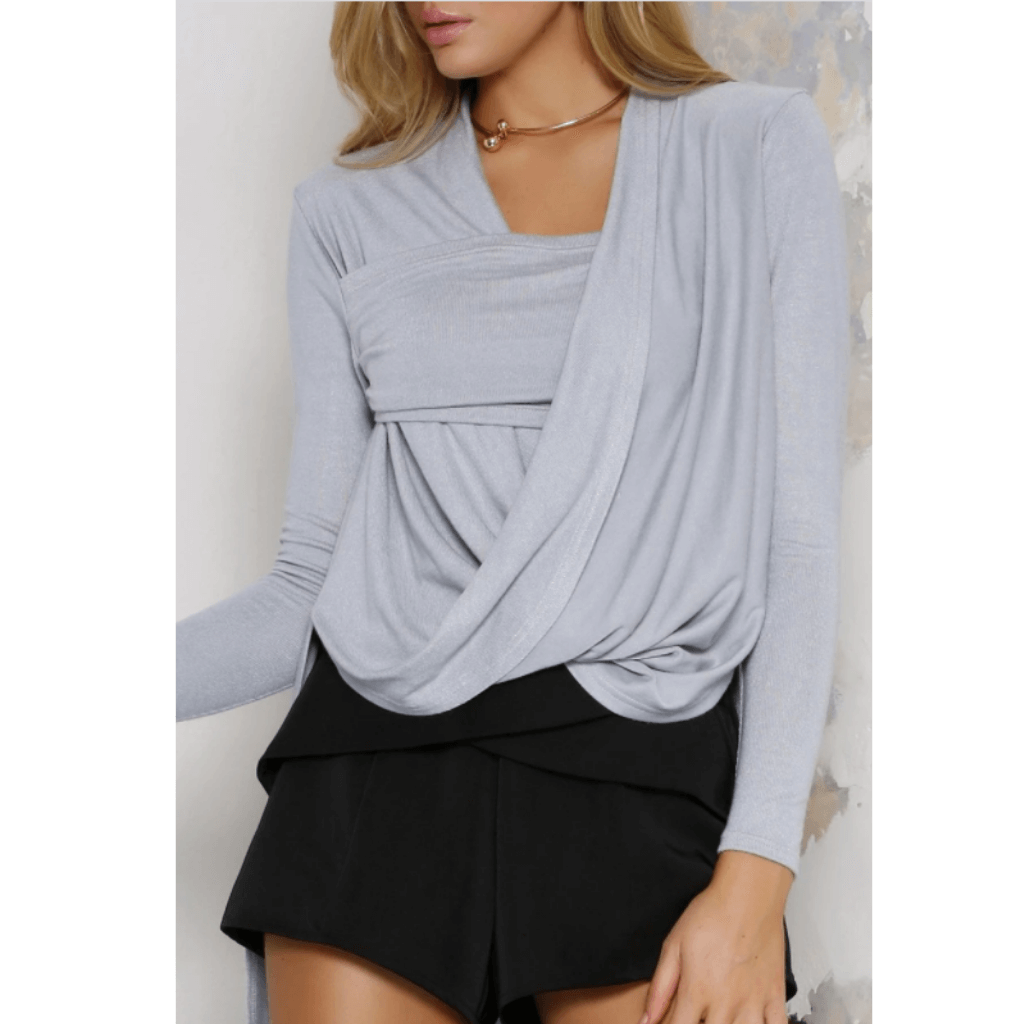 Jolene Drape Knit Top - Dove
