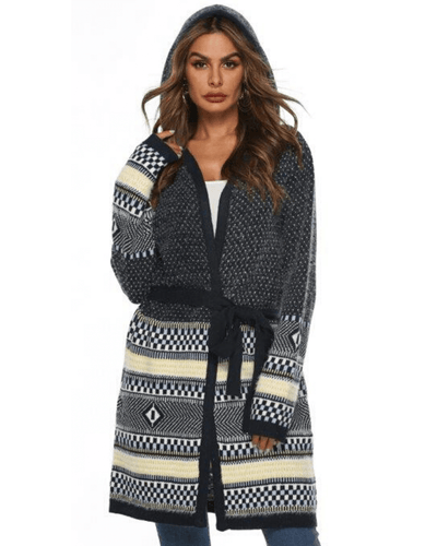 Candice Hooded Knit Cardi - Navy Blue