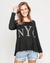 NYC Long Sleeve Sequin Top - Black