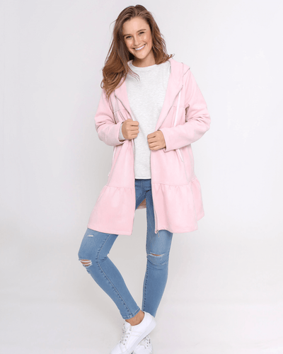 Olivia Faux Suede Hooded Jacket - Pale Pink
