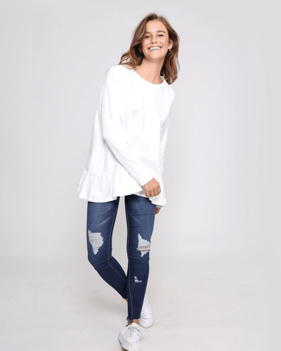 Holly Frill Top - White