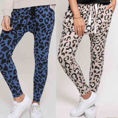 Jogger Two Pair Bundle - Mila Denim Blue Leopard & Mila Blush Wild Leopard