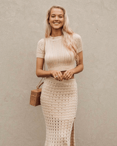 Cassy Knit Top and Skirt Set - Sand