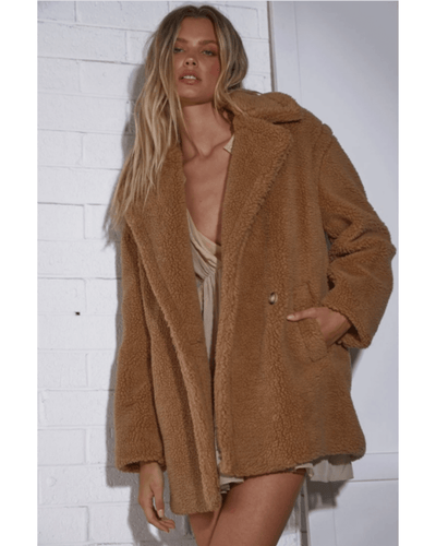 Rory Plush Coat - Tan