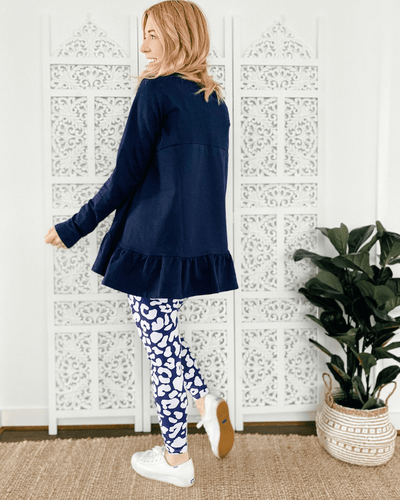 Holly Frill Top - Ink Navy