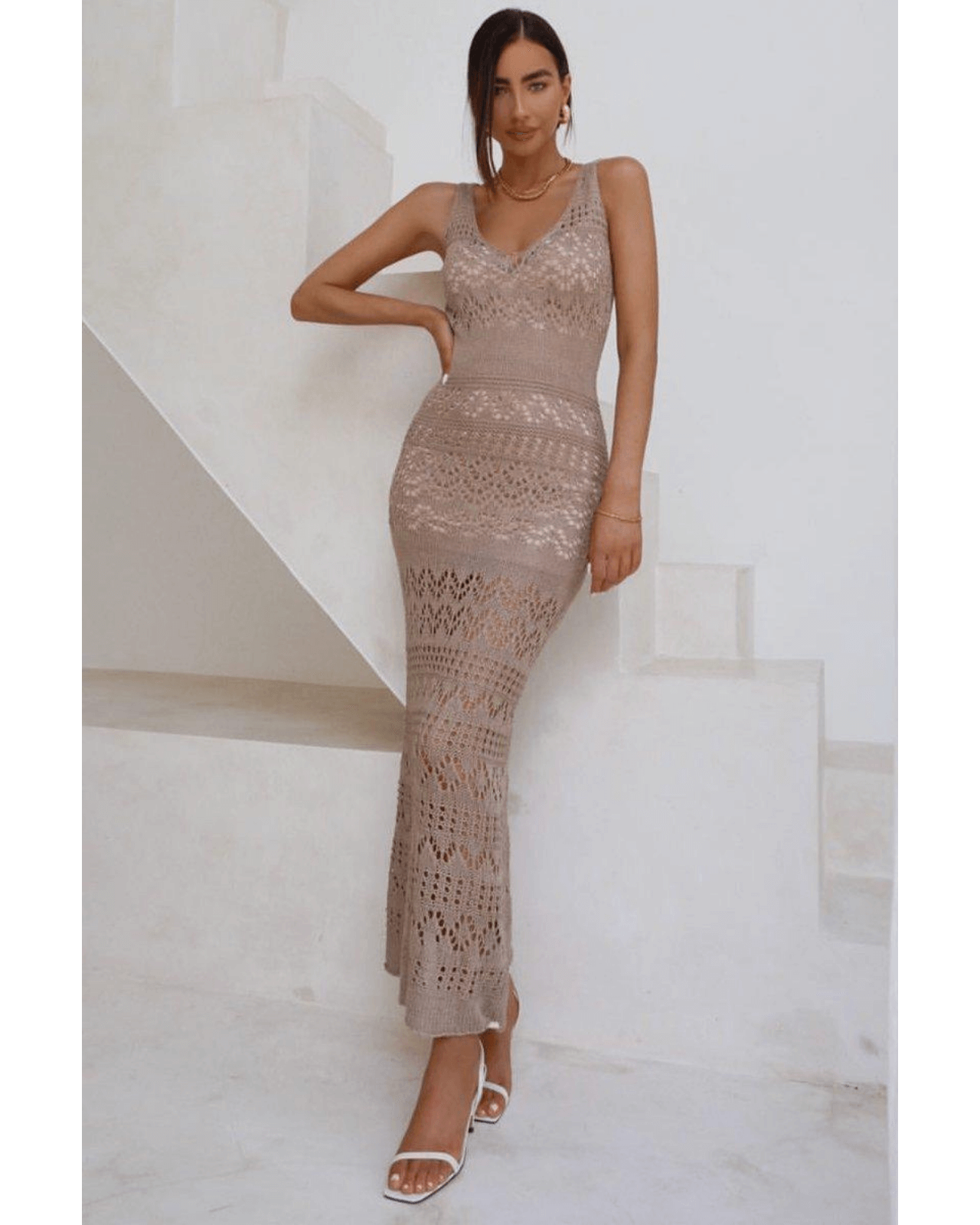 Shona Crochet Maxi Knit Dress - Taupe