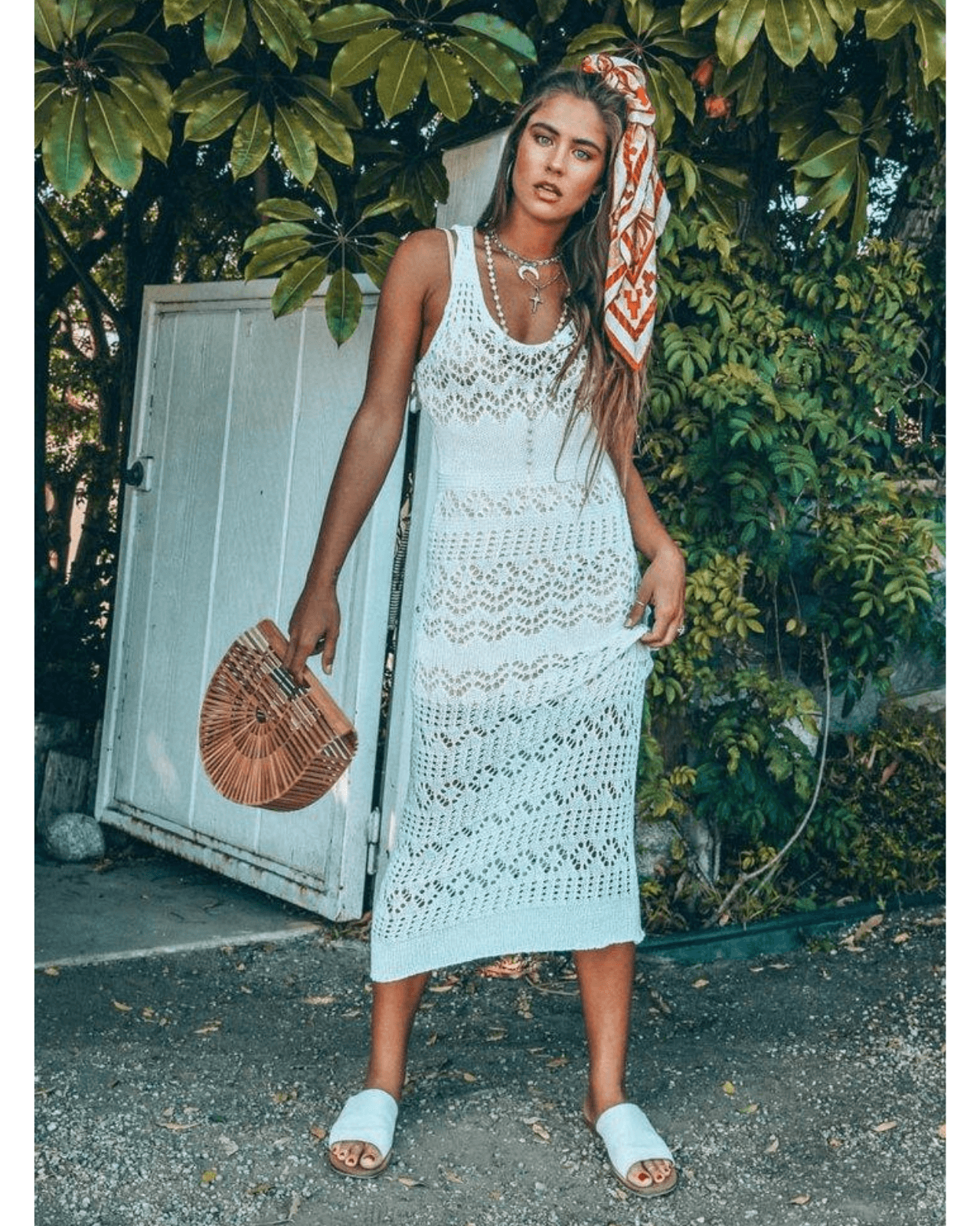 Shona Crochet Maxi Knit Dress - White