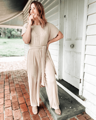 Gina Jumpsuit - Glossy Champagne