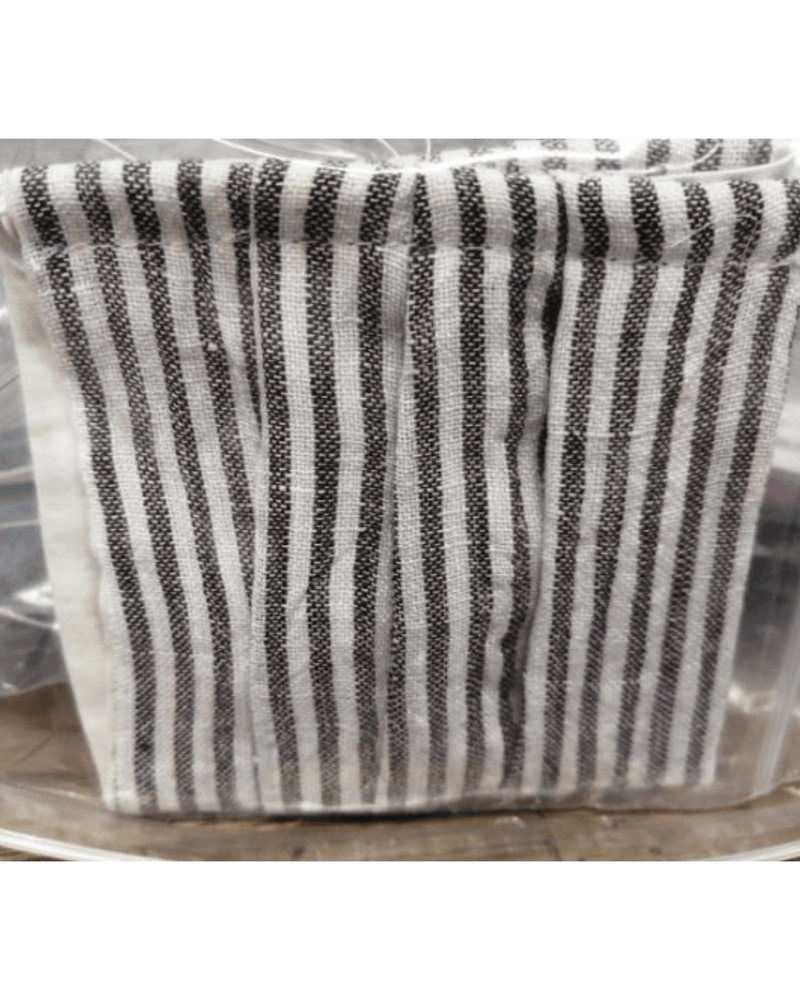 Three Pack: Linen Face Coverings  - White with black