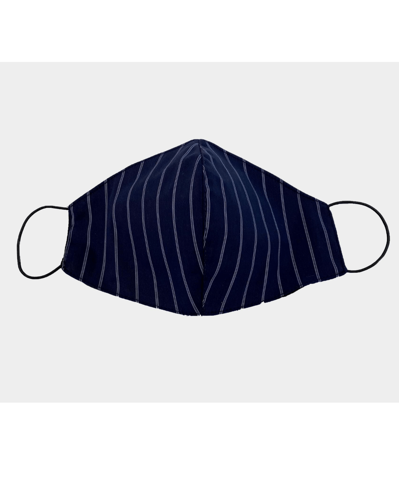 Three Pack: Cotton Face Coverings  - Navy Pin Stripe