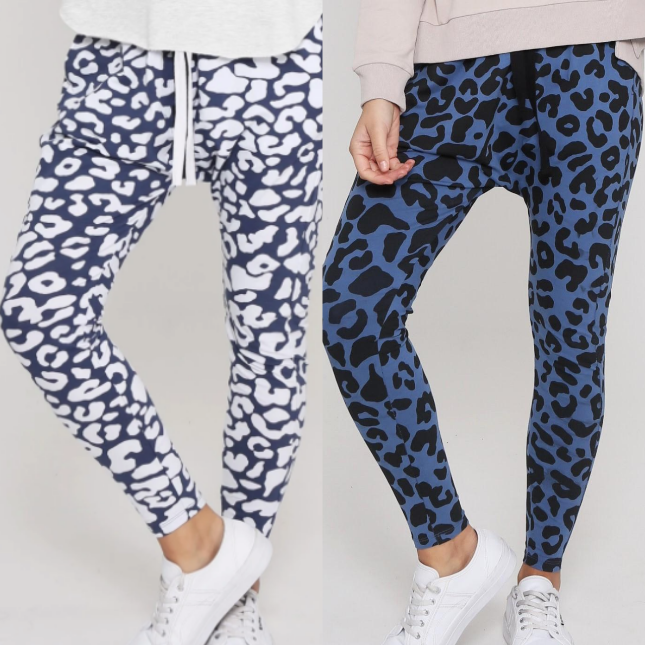 Jogger Two Pair Bundle -  Mila Ink Leopard and Mila Blue Denim Leopard