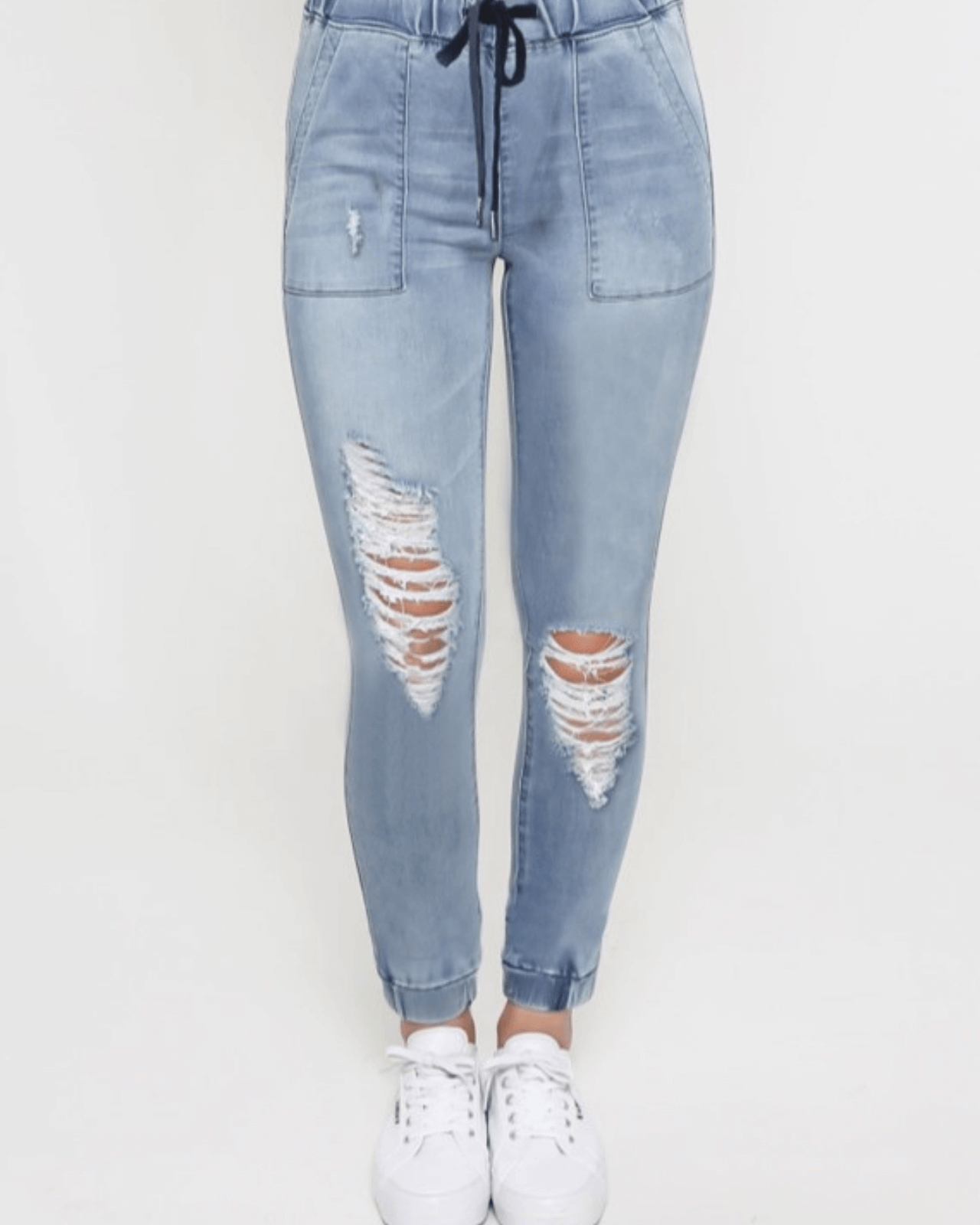 Arianna Joggers - Ripped Denim