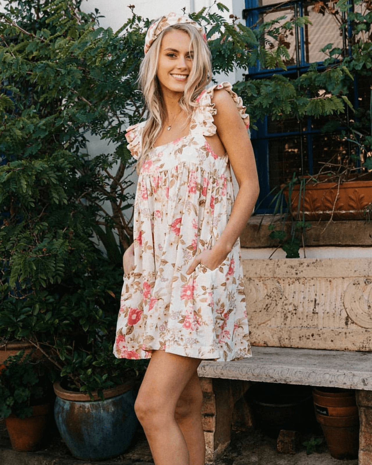 Bonita White Floral Babydoll Dress