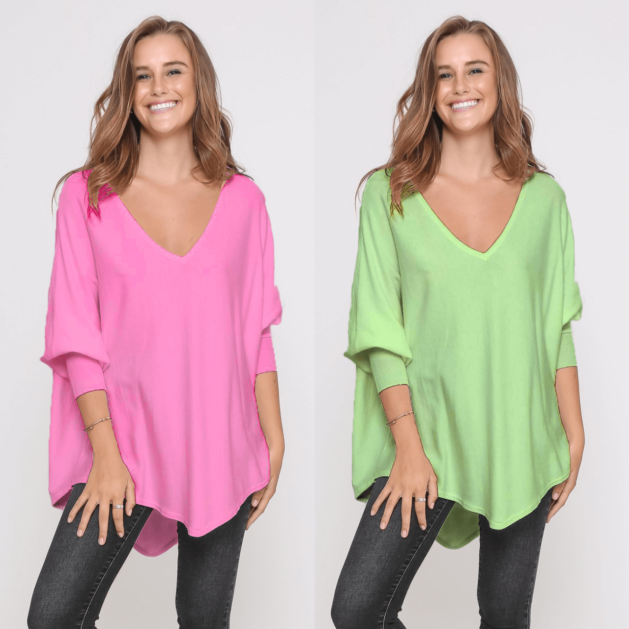 Two Zali Knit Top Bundle - Blossom and Lime