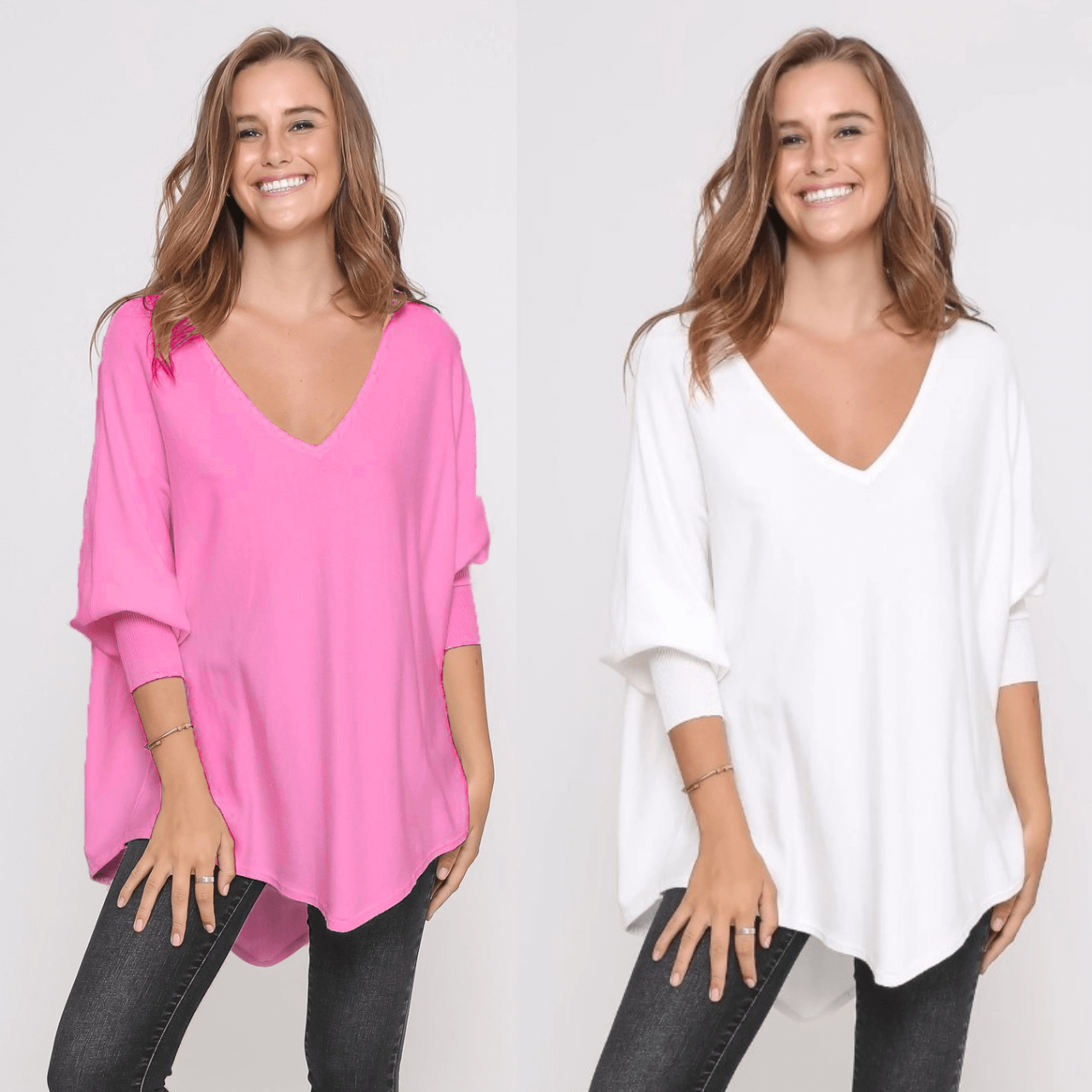 Two Zali Knit Top Bundle - Blossom and White
