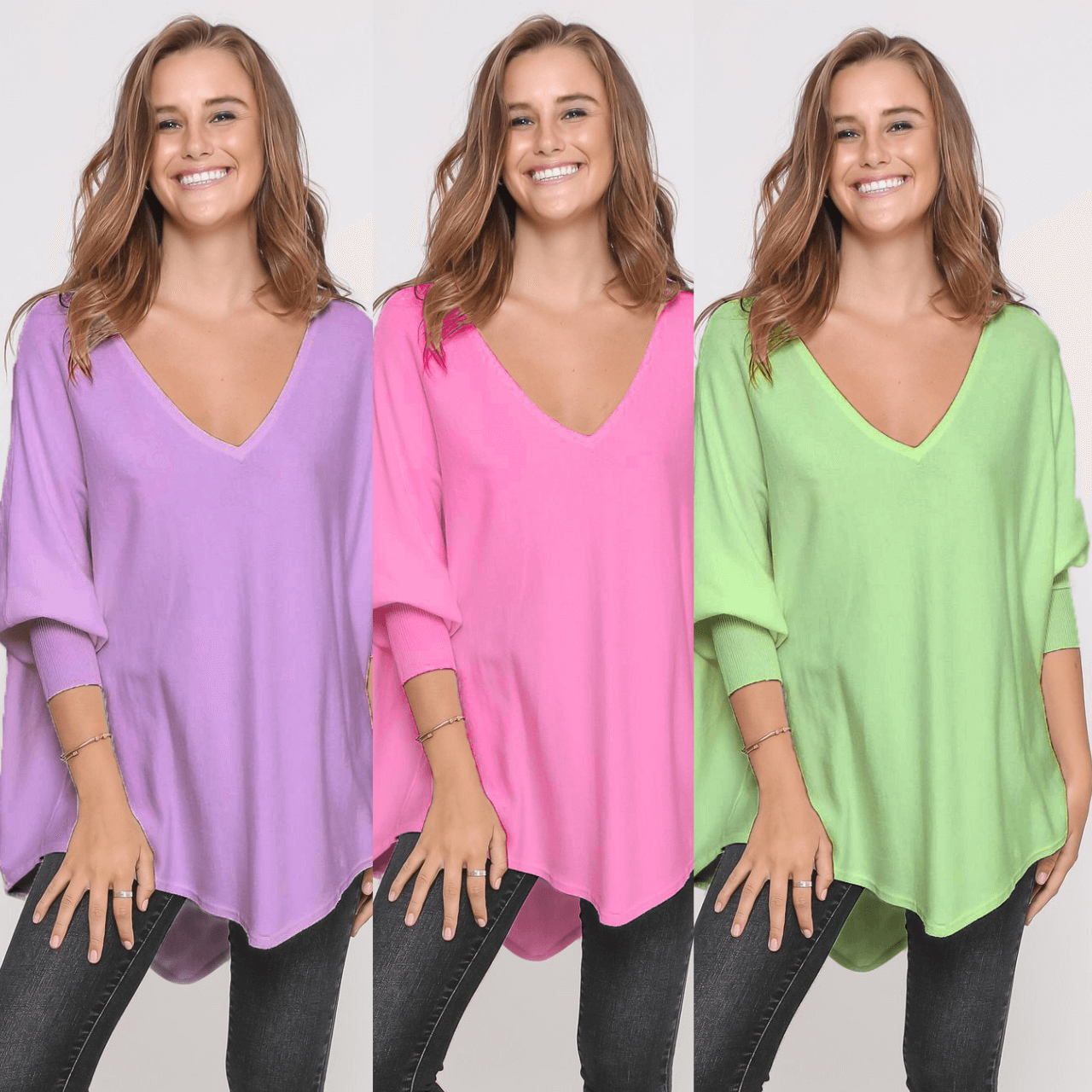 Three Zali Knit Tops Bundle - Lilac/ Blossom/Lime