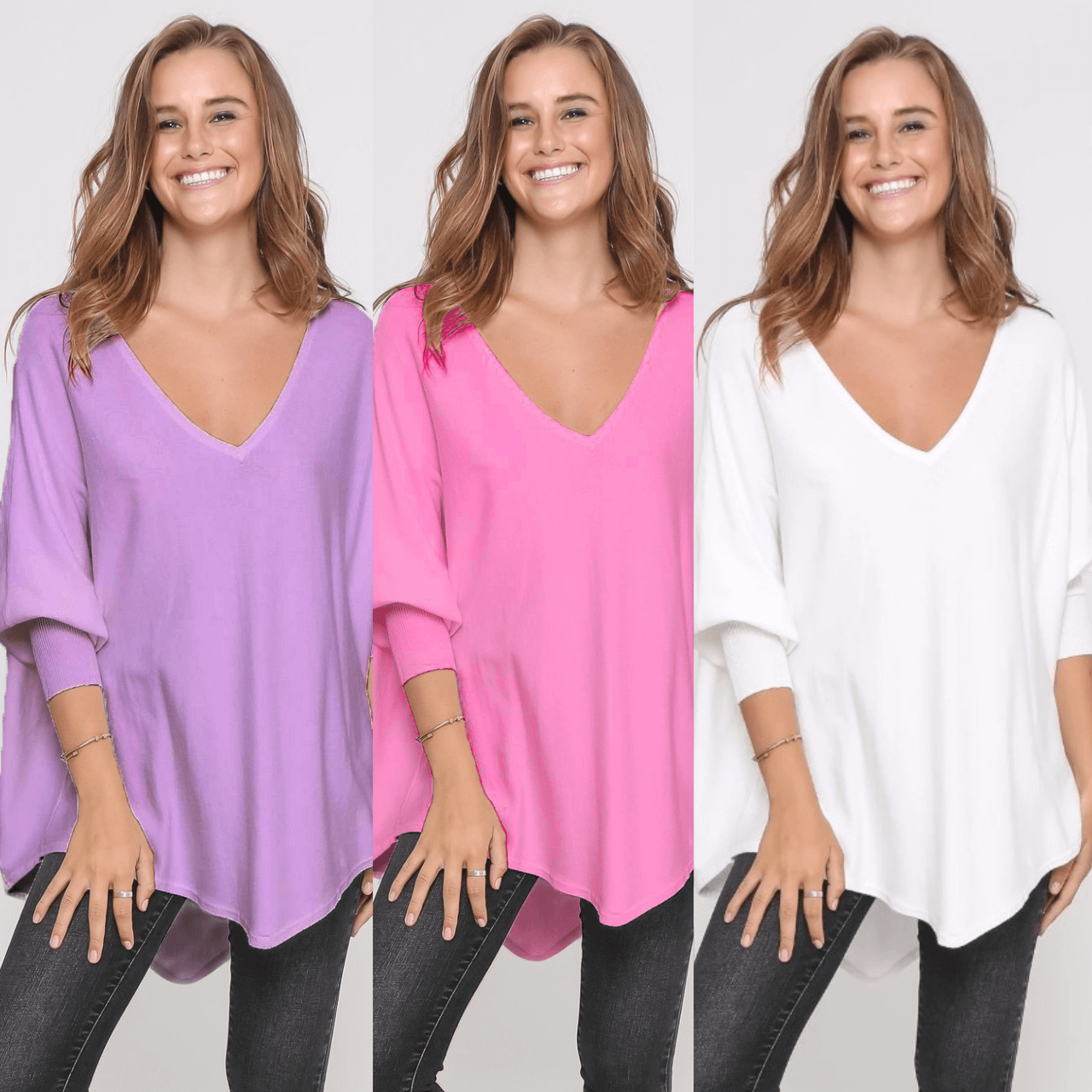 Three Zali Knit Tops Bundle - Lilac/ Blossom/White