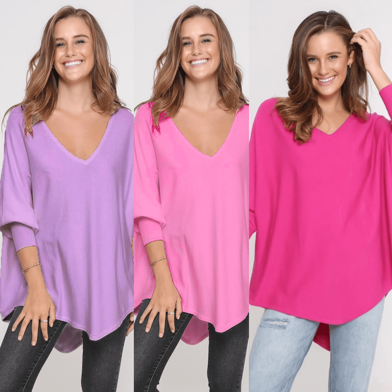Three Zali Knit Tops Bundle - Lilac/ Blossom/Fuschia
