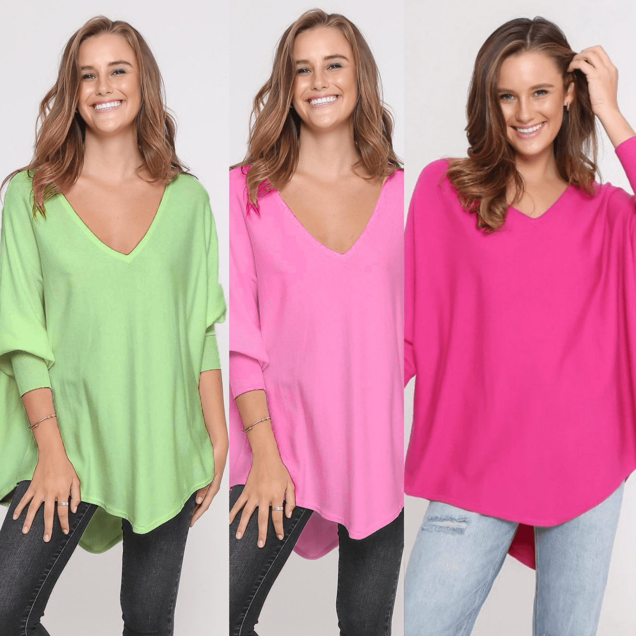 Three Zali Knit Tops Bundle - Lime/ Blossom/Fuschia