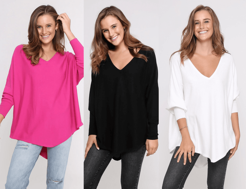 Three Zali Knit Tops Bundle - Fuschia/ Black /White