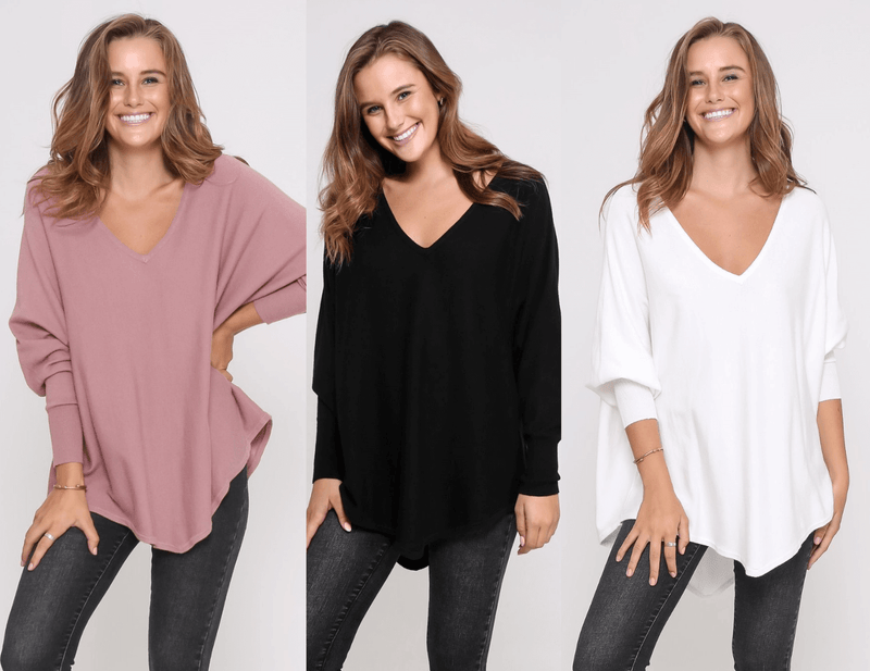 Three Zali Knit Tops Bundle - Blush/ Black /White