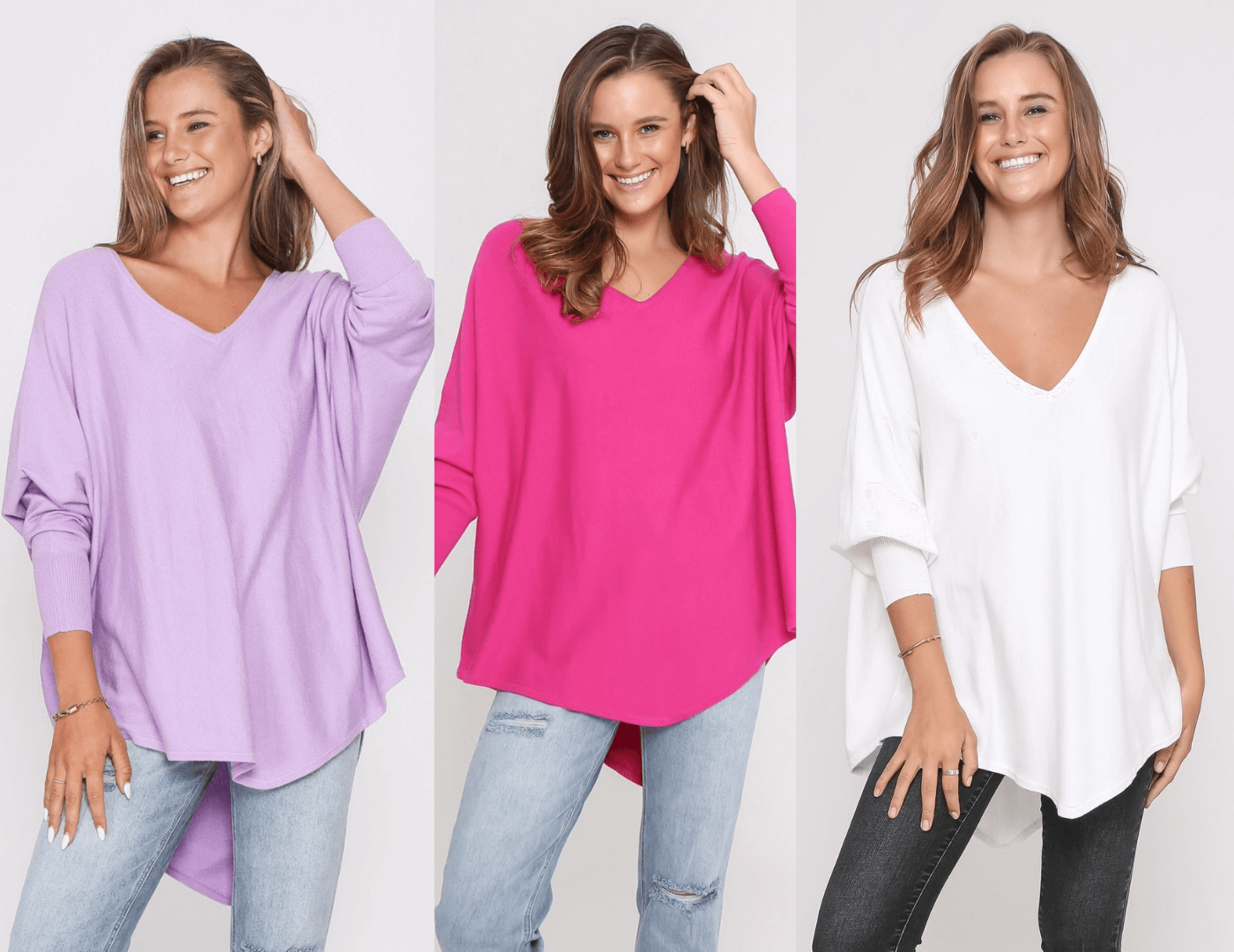 Three Zali Knit Tops Bundle - Lilac / Fuschia /White