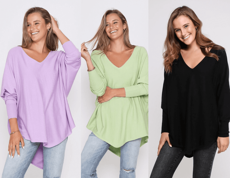 Three Zali Knit Tops Bundle - Lilac / Lime /Black