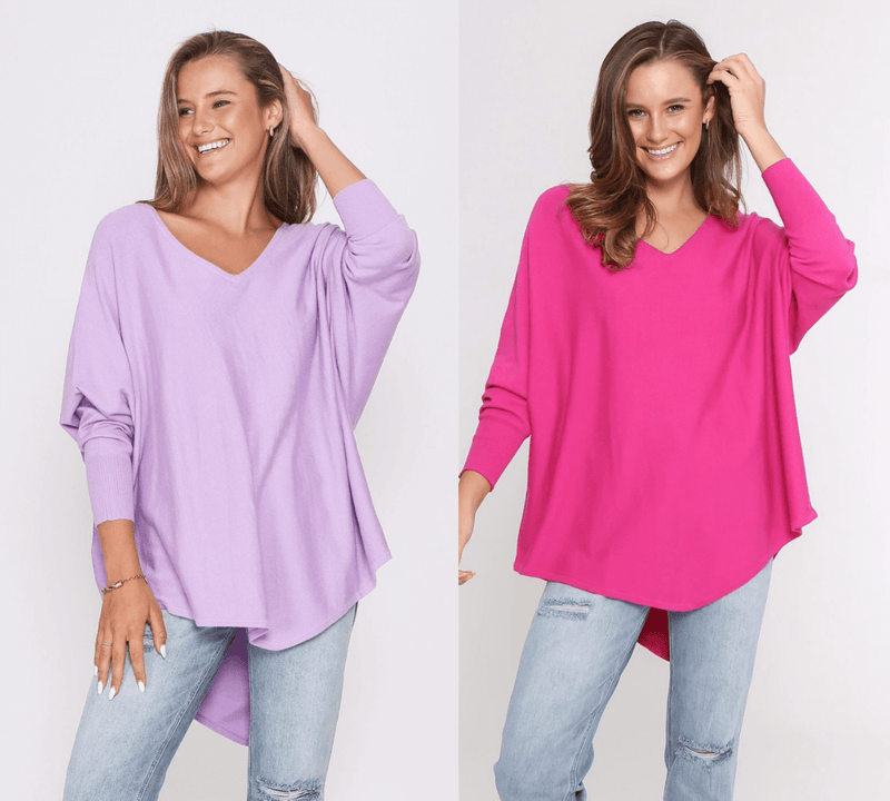 Two Zali Knit Top Bundle - Lilac and Fuschia