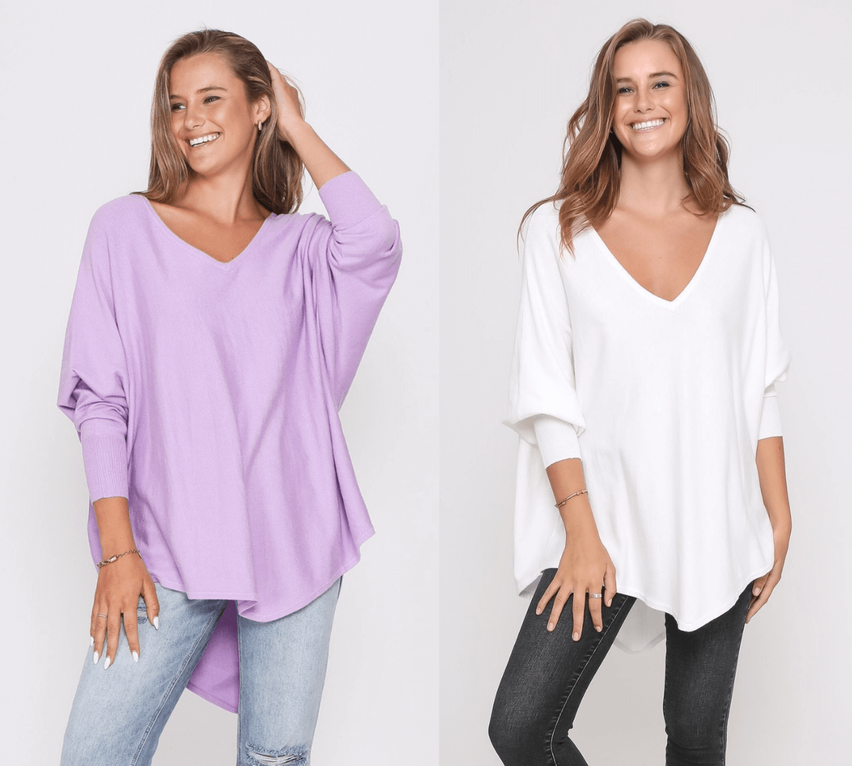 Two Zali Knit Top Bundle - Lilac and White