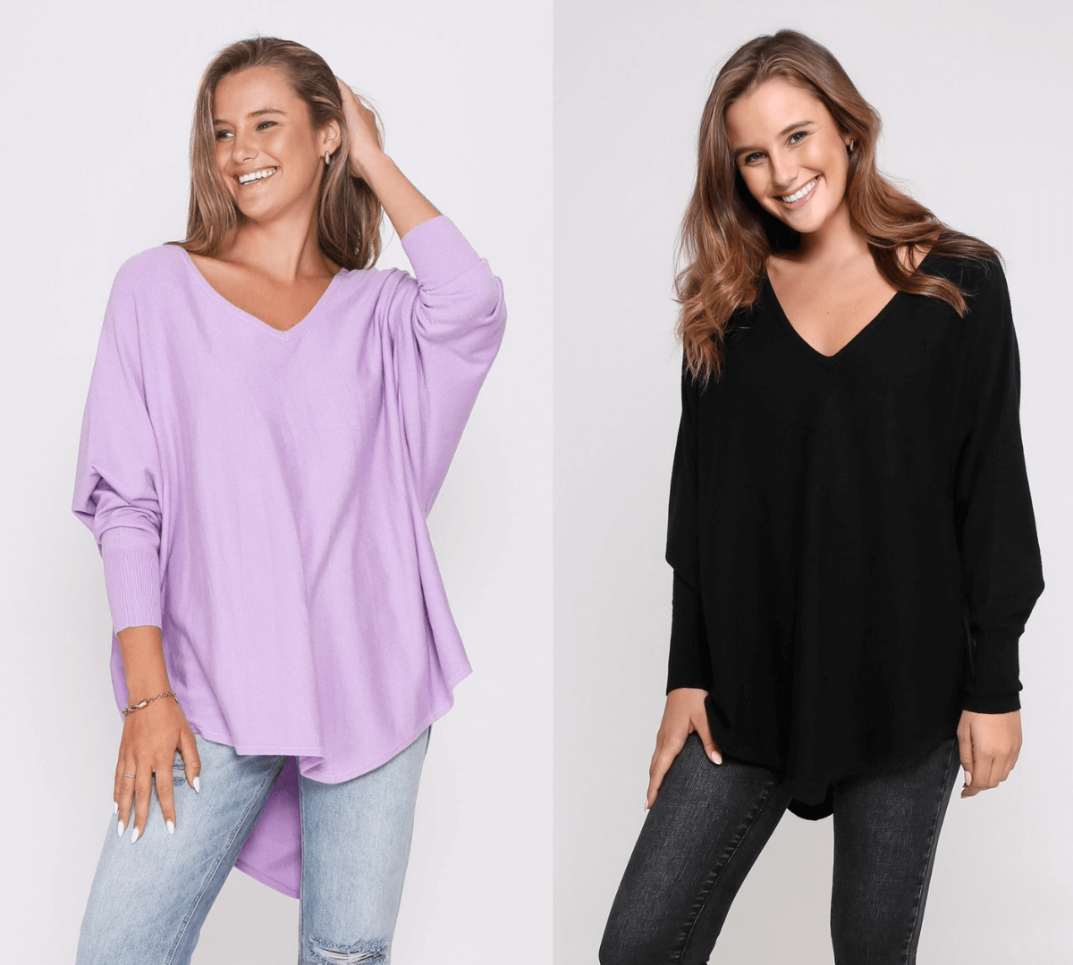 Two Zali Knit Top Bundle - Lilac and Black